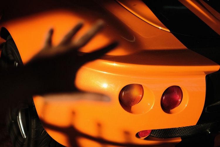 Close-up of orange car