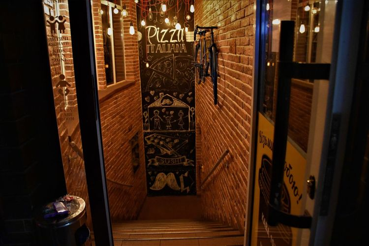 For the pizza lovers the door to Paradise is not always leading upstairs) Pizza Time Stairs Bicycle Creative Advertising Doorway Entrance Entry No People Pizzahut Stairs Leads Down) To Heaven