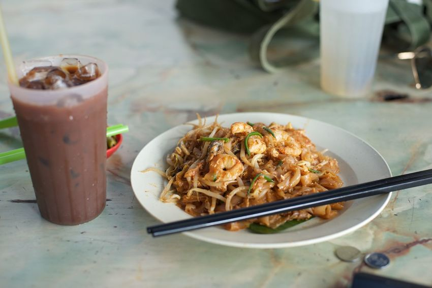 Char Kway Teow Close-up Drinking Glass Flat Noodles Food And Drink Food Culture Foodie Culture Iced Coffee Local Dish No People Penang Ready-to-eat