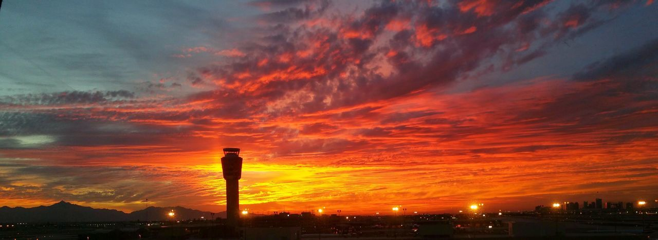 Fire is the sky Sunset Orange Color Dramatic Sky No People Cloud - Sky Built Structure Outdoors Air Traffic Control Tower Phx Phoenix Sky Harbor Airport Maricopa County Phoenix Metro Arizona