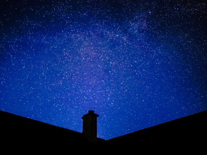 Stars above the chimney Night Sky Photography Night Lights Night Sky Star - Space Sky Night Low Angle View Astronomy Space Blue Star Built Structure Star Field Scenics - Nature Space And Astronomy Galaxy Silhouette Nature