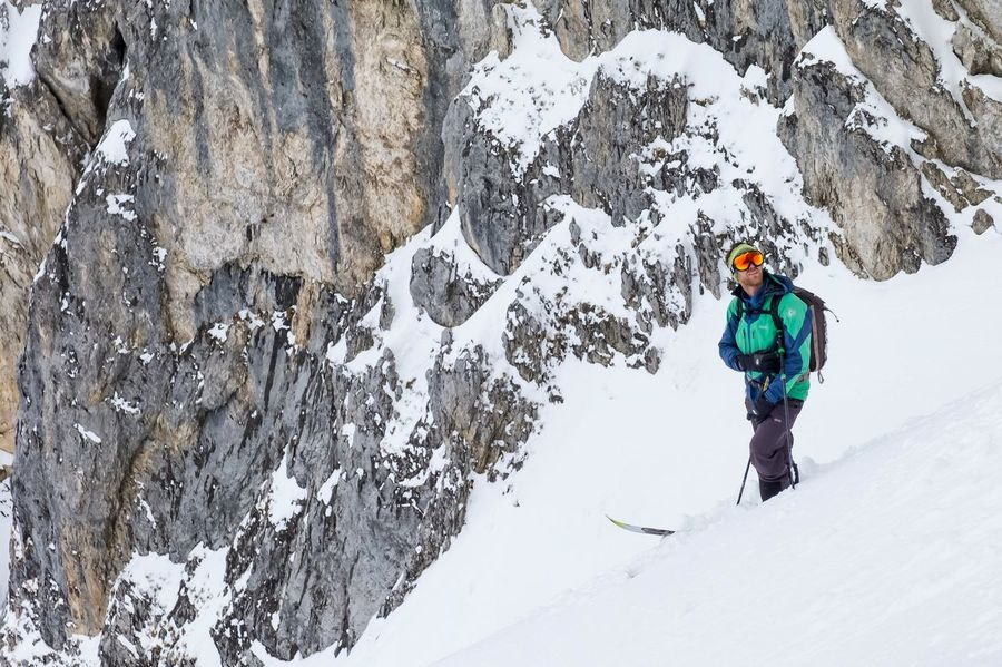 Our mountain guide is ready to drop into a really nice couloir. Switzerland graubünden Graubünden Grissons Mountains Landscape Winter Alps Mountains Skitour Backcountry mountains alps skitour snow winter landscape backcountry schweiz berge alpen schnee landschaft skitour outdoors