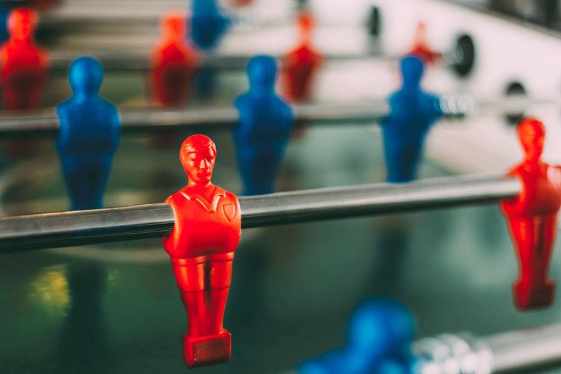 Close-up of figurine on foosball