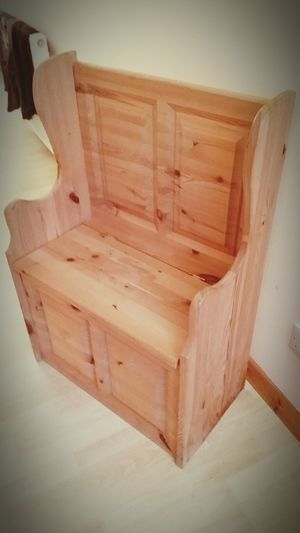 Pine childrens seat with storage underneath. Ready for painting to your exact specifications. Price tba