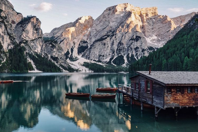 Lago di Braies Mountain Water Lake Reflection Beauty In Nature Mountain Range Nature Scenics - Nature Idyllic Travel Destinations Sky Waterfront Landscape No People Reflection Lake The Great Outdoors - 2018 EyeEm Awards 10