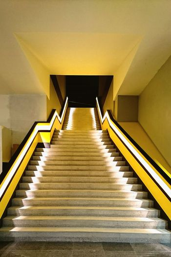 Steps And Staircases Architecture Staircase Steps No People Yellow Indoors  Lights Light And Shadow Illuminated Illumination Bitec Bangna The Architect - 2017 EyeEm Awards