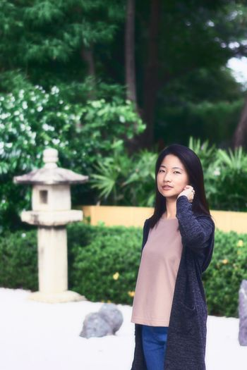 Asian girl portrait in Japanese garden. One Person Young Women Leisure Activity Lifestyles Smiling Beauty Nature Cute Girl Portrait Asian  Fashion Pretty Long Hair Happiness Relaxing Freshness Casual Clothing The Week On EyeEm
