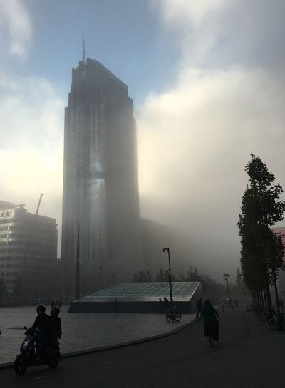 Architecture Building Exterior Rotterdam Centraal  Blue Haze Morning Mist Urban Skyline City Life Silhouettes Motorcycle Foggy Day Autumn Shadows Skyscraper Tower October Mist