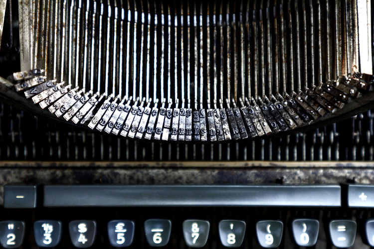 old, vintage and dirty typewriter Typewriter Vintage Old Antique Retro Retro Key Keypad Spacebar Space Bar Writer Letter Alphabet Modern Business Finance And Industry Architecture Close-up Analogue Sound