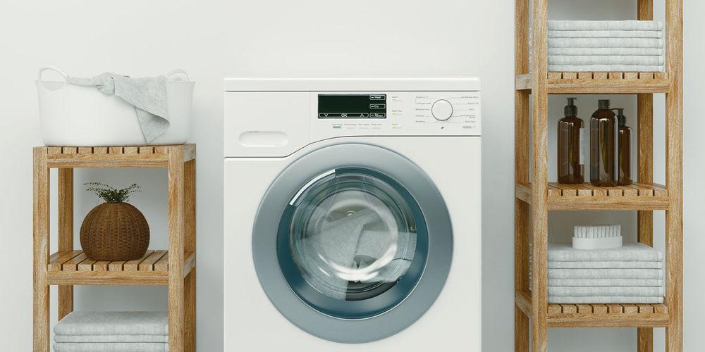 View of washing machine at home