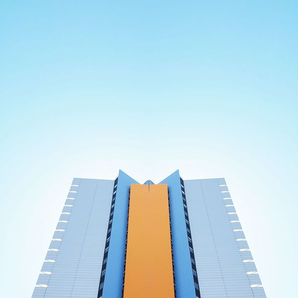 Feels like summer Modern Architecture Skyscraper No People Sky Colored Candy Colors Wall Façade Windows Blue Background Summer Barcelona Travel Destinations Urban Geometry Copy Space Stripes Pattern Good Vibes Happy Symmetrical The Architect - 2017 EyeEm Awards Building Exterior Lookingup Neighborhood Map Pastel Colors