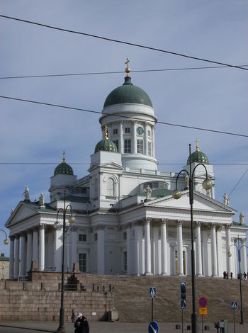 Architectural Column Architecture Building Exterior Built Structure Day Dome Façade History Low Angle View Men Outdoors People Place Of Worship Real People Religion Sky Spirituality Tourism Travel Travel Destinations Helsinki, Finland Helsinki Church