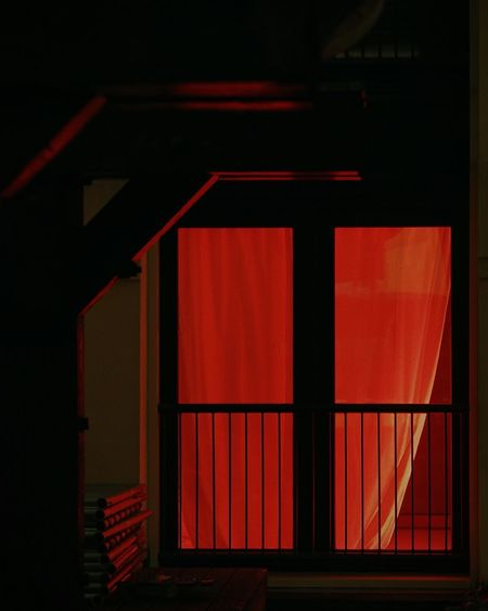 Indoors  Red Built Structure Architecture No People Night Night Lights Rotterdam Spaces Between Building Exterior Streetphotography Fire Flame Red Light Dark Passion Romance Love Life Warm Glow Shine Curtains Home When In Doubt