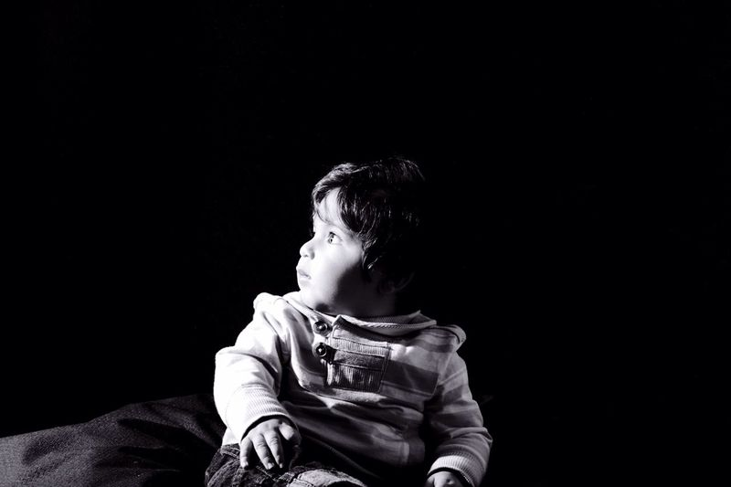Baby Boy Looking Sideways Black And White Photography Black Background Single Light Source My Best Photo 2015 Showcase: December