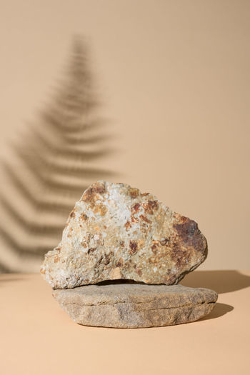 Close-up of rocks on table against wall