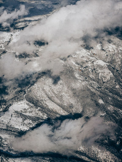 Aerial view of snowy mountains.