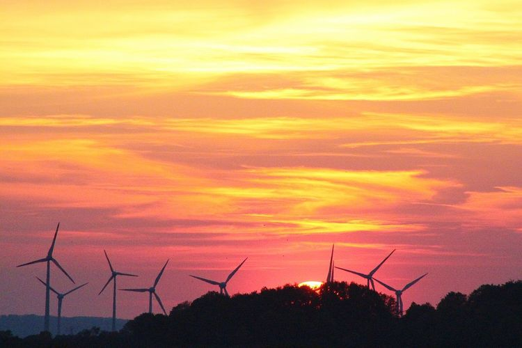 Dramatic Sky Sunset Technology Silhouette Wind Power Orange Color Rural Scene Sky Landscape Wind Turbine Alternative Energy