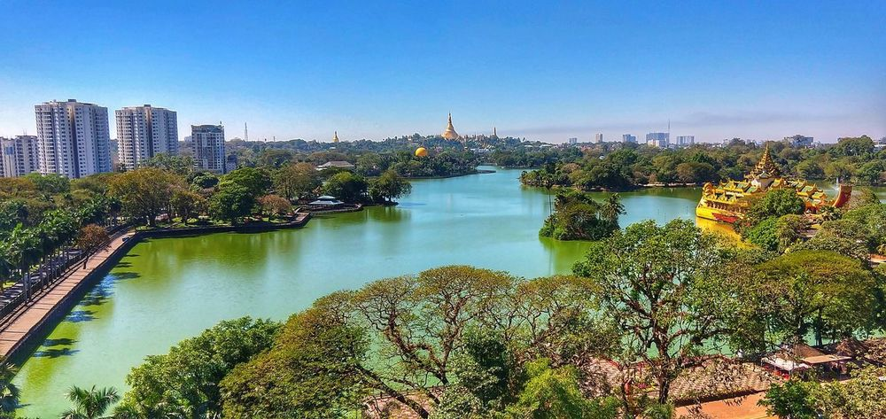 Lakeview Lakeview Yangon Travel Destinations Life Adventures Myanmar Kandawgyi Water No People Outdoors Sky Day Skyscraper Colour Your Horizn