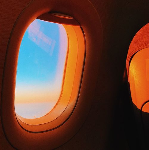 View of through airplane window