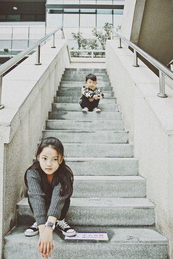 Sister and brother Sister And Brother Family Family❤ Staircase Squat People Together Having Fun Togetherness Kids Childhood