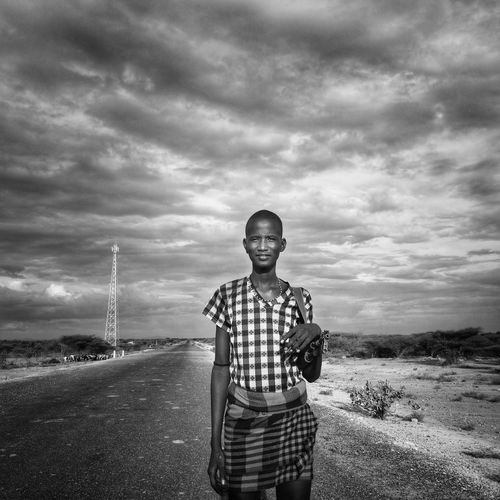 Ethiopia Portrait MaleOne Person Standing Sky Cloud - Sky Looking At Camera Worrior One Boy Only Outdoors Landscape Day Nature Adult Daasanach African Omovalley first eyeem photo EyeEmNewHere Black And White Friday
