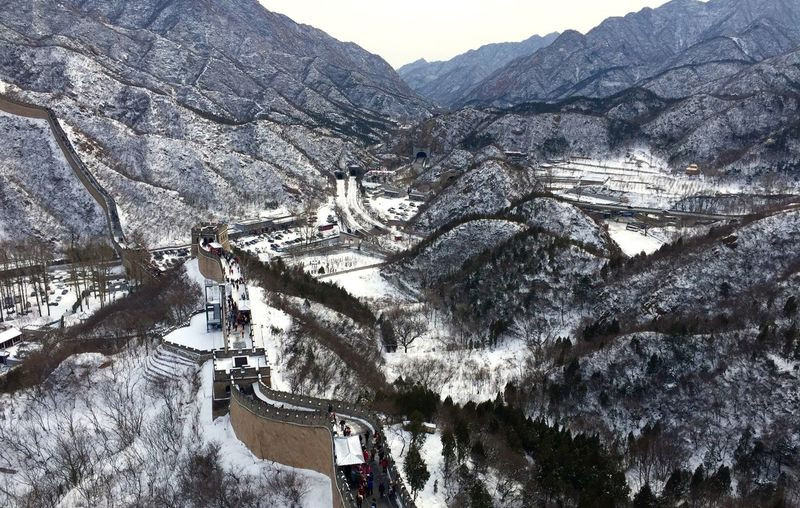 People at great wall of china during winter