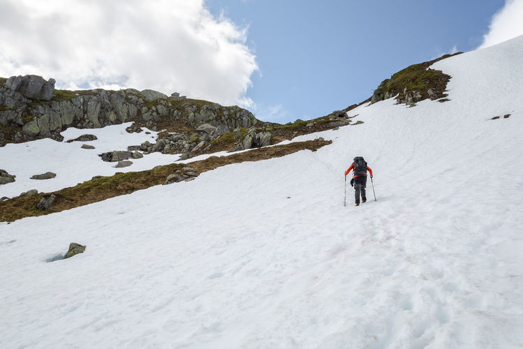Activity Adventure Ascending Ascent Beauty In Nature Cold Temperature Covered Feel The Journey Footprints Footprints In The Snow Hiking Landscape Leisure Activity Mountain Nature Non-urban Scene Reinanuten Remote Scenics Snow Summer Unrecognizable Person Vacation