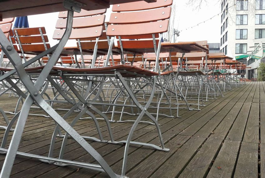 Biergarten 4/5 Beergarden  Biergarten Tables & Chairs Pattern, Texture, Shape And Form Biergartensaison Close-up No People Metal Structure Biergartenzeit Large Group Of Objects Outdoors Pattern Beergarden  Day Urban Geometry Wooden Texture Chairs In A Row