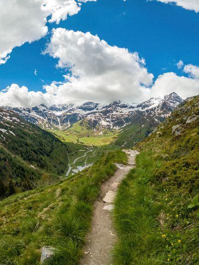 Footpath in the austrian alps near gastein, salzburg, austria