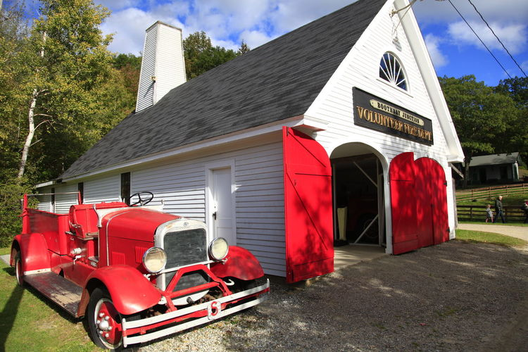 Vintage fire truck next to volunteer fire station Boothbay Fire Engine Fire Station Maine Red Truck Vintage Volunteer