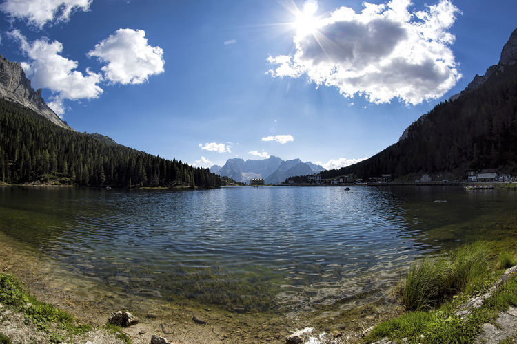 Lago Di Misurina Beauty In Nature Cloud - Sky Day Lake Mountain Mountain Range Nature No People Outdoors Scenics Sky Tranquil Scene Tranquility Tree Water Lost In The Landscape Perspectives On Nature