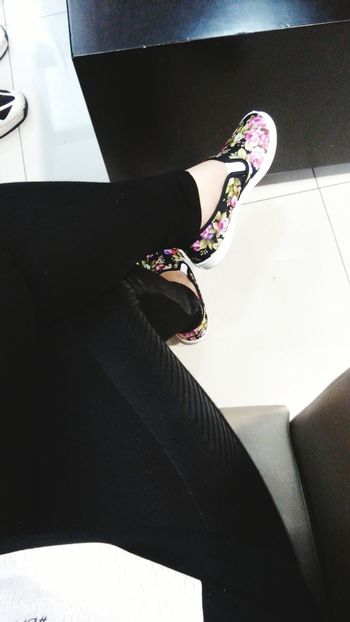 Shoes Flowers Colors Black Pants Bored Sitting Girl
