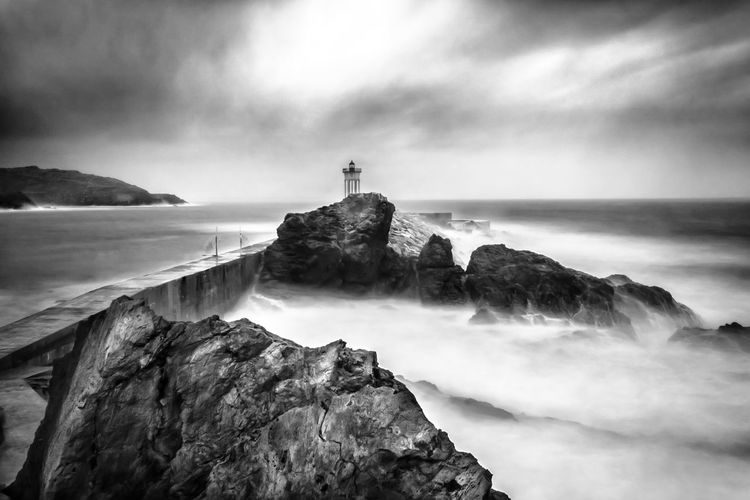 Sweet storm Waves Sweet Outdoors Mediterranean Sea Lighthouse Pyrénéesorientales France Black And White Blackandwhite Storm Canon Longexposure Rock - Object Beauty In Nature Cloud - Sky No People