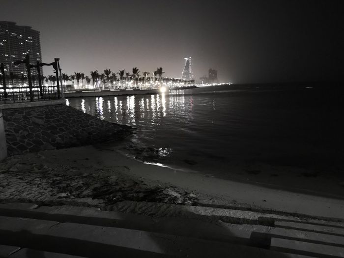 Night in jeddah Greyscale Black And White Sky Beach Sea Water Outdoors Nature