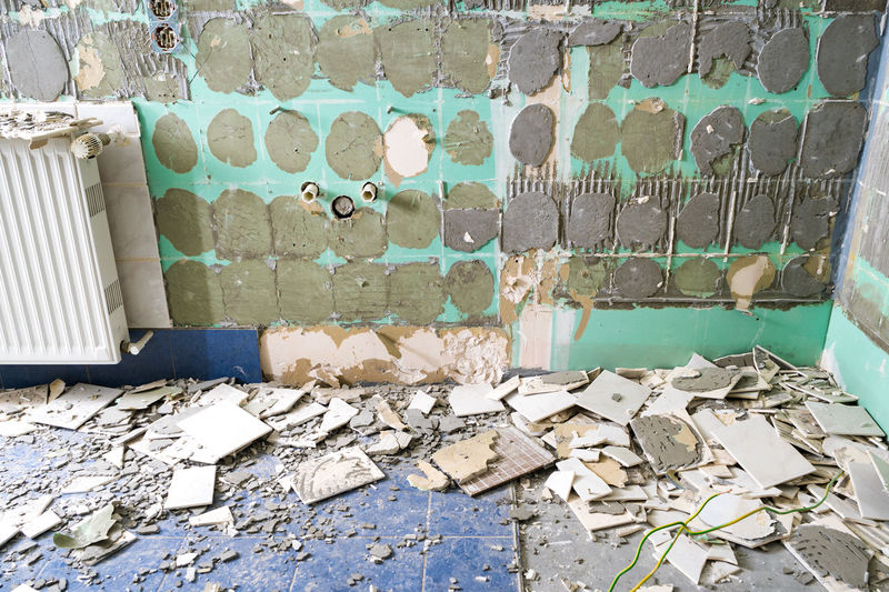 Damaged wall of old building