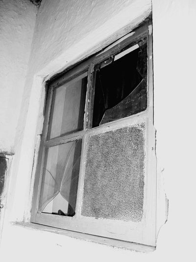 Window House Architecture Weathered Abandoned Built Structure Day No People Low Angle View Building Exterior Curtain Multi Colored Rotting Outdoors Black And White Black And White Friday