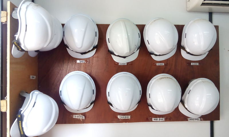 In A Row Indoors  No People Safety Helmet