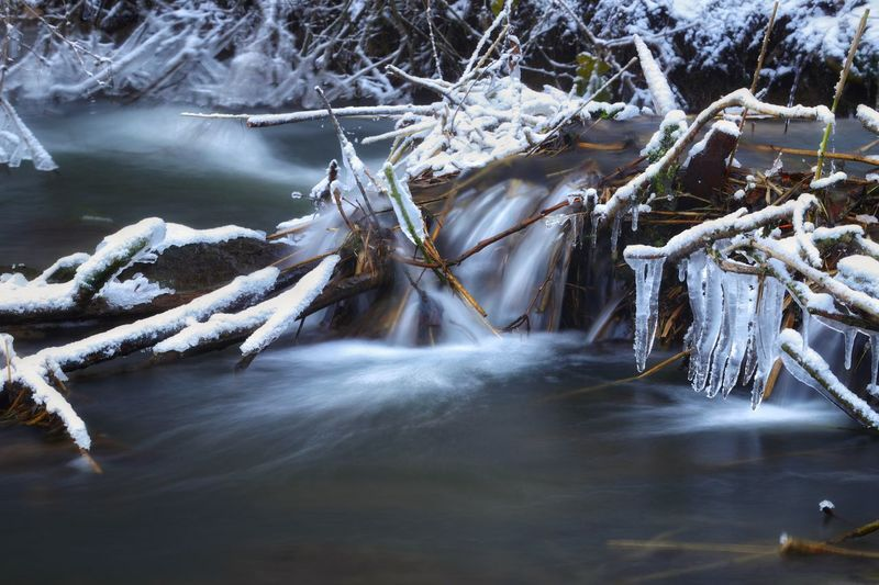 Frozen Creek Cold Landscape Michael Hruschka Https://www.facebook.com/mh.photography.de/ Eis Langzeitbelichtung Creek Gefroren Water Beauty In Nature Cold Temperature Tree Winter Scenics - Nature Nature Long Exposure Frozen River Waterfall Snow Flowing Water