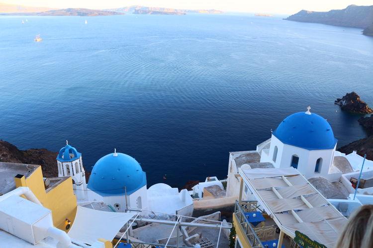 High angle view of santorini against sea