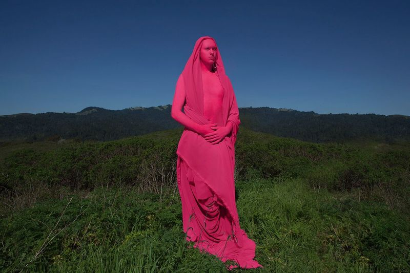 Model: Abominatrix. This series discusses how far we as humans have distanced ourselves from nature, causing us to sometimes feel out of place in the wilderness. Our involvement in manufactured things can make us feel like a foreign object in a landscape. 🏞 Adult Pink Color Portrait People Outdoors One Person Young Adult Nature Day