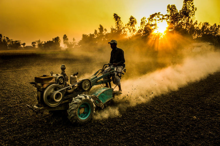 Man on agricultural vehicle in farm