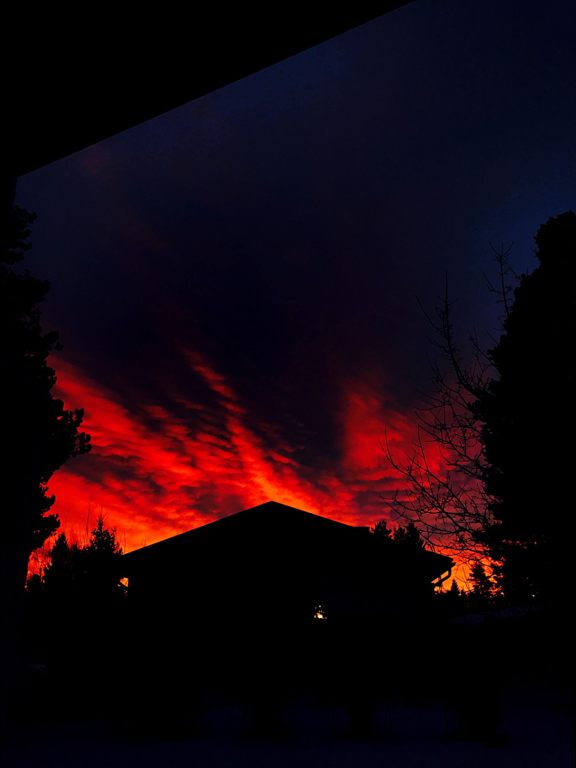 night, red, nature, silhouette, outdoors, no people, sky, tranquil scene, beauty in nature, lava, tree, erupting, forest fire, astronomy