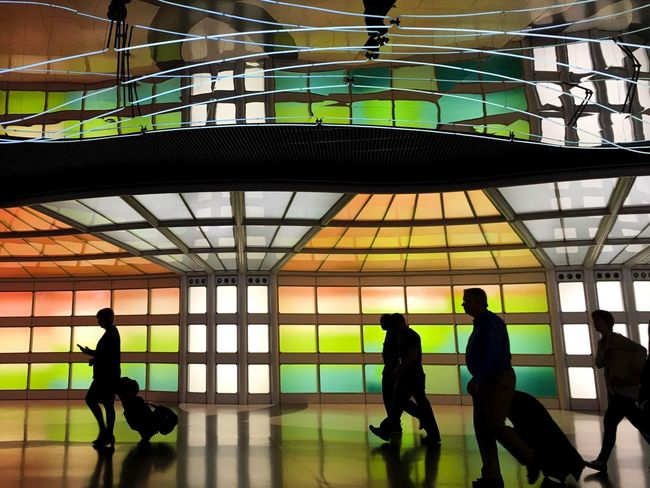 Light Lights Chicago Airport Travel Traveling Traveler Walking Busy Sillhouette Color Colors Colorful Manmade Work Of Art Art ArtWork Beauty Beautiful Travel Photography Layovers