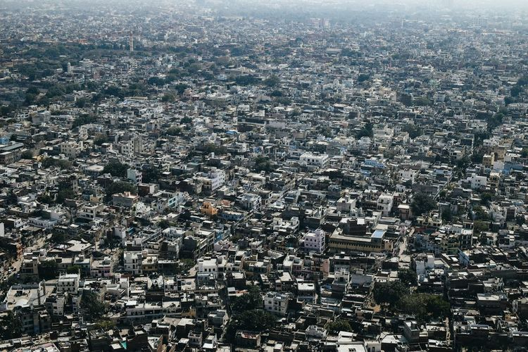 Aerial view of crowded city