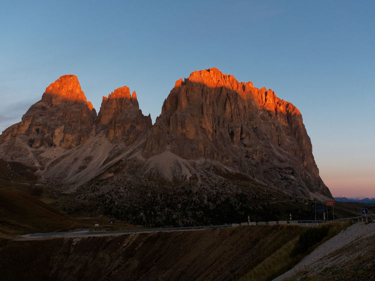 Dolomites sunrise Sasso piatto Sasso lungo Dolomites Sasso Piatto Sasso Lungo Southtyrol  Südtirol Arid Climate Beauty In Nature Clear Sky Day Geology Italy Landscape Mountain Mountain Range Nature No People Outdoors Physical Geography Rock - Object Rock Formation Scenics Sky Sunrise Tranquil Scene Tranquility
