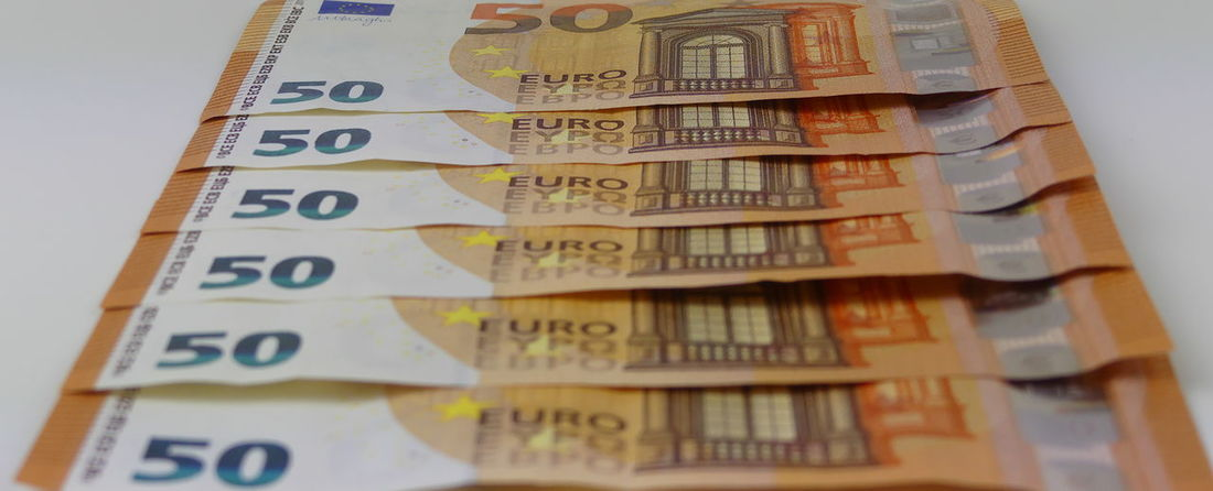 Close-up Currency Day Euros Finance Geldscheine Indoors  No People Paper Paper Currency Savings Studio Shot Wealth