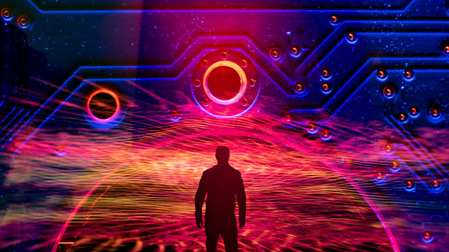 Multi Colored Men Silhouette Illuminated Technology Psychedelic Galaxy Constellation Nebula Light Painting Star - Space
