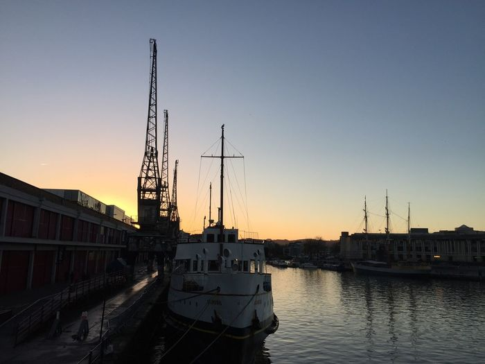 Crispy sunset in Bristol Nautical Vessel Transportation Clear Sky Sunset Architecture Mode Of Transport Harbor Water Built Structure Moored No People Mast Waterfront Outdoors Sky Building Exterior City Nature Day Bristol Bristol, England Bristol Harbour M Shed M Shed Bristol My Point Of View