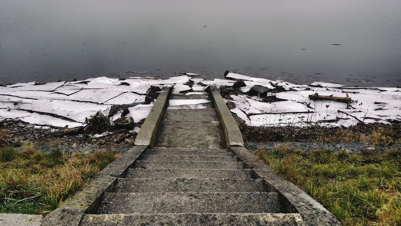 Ice Winter Stairs Leading Lines Perspective River Bank  Water Lake Cold Temperature Grass Weather