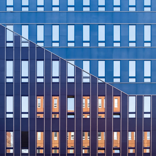 Architecture Built Structure Building Exterior Building Window Glass - Material Modern Office Day No People City Full Frame Reflection Pattern Blue Outdoors Sunlight Office Building Exterior Low Angle View Side By Side